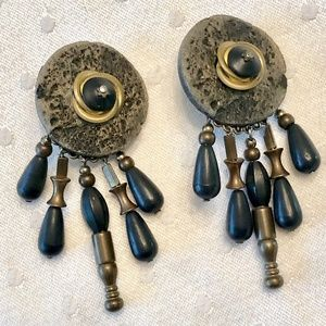 Artistic black & gold toned clip on drop earrings
